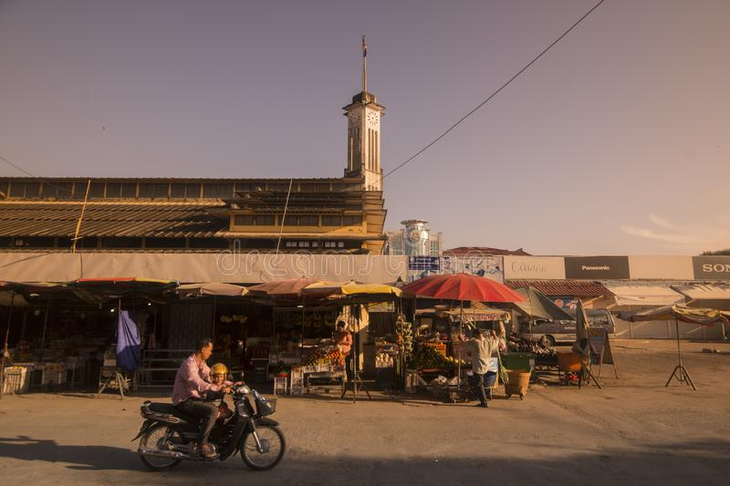 CAMBODIA BATTAMBANG PSAR NAT MARKET. The Building of the Psar Nat market in the city centre of Battambang in Cambodia.  Cambodia, Battambang, November, 2018 royalty free stock image