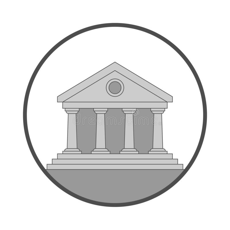 Public building round icon. Public building icon. Facade building sign Isolated on white background. Symbol of the building in the circle. Flat style. Vector stock illustration