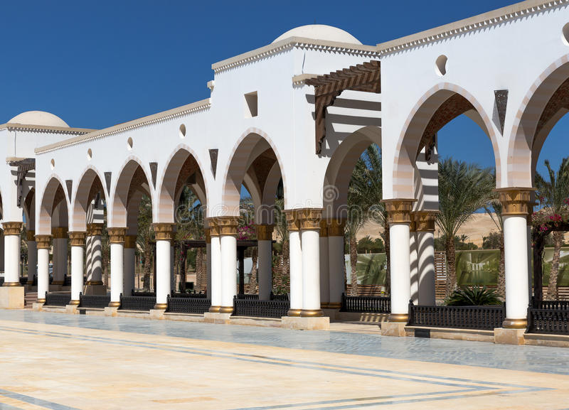 Building in public park. Egyptian architecture. Luxury Building in public park. Egyptian architecture stock photo