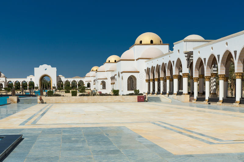Building in public park. Egyptian architecture. Luxury Building in public park. Egyptian architecture stock photography