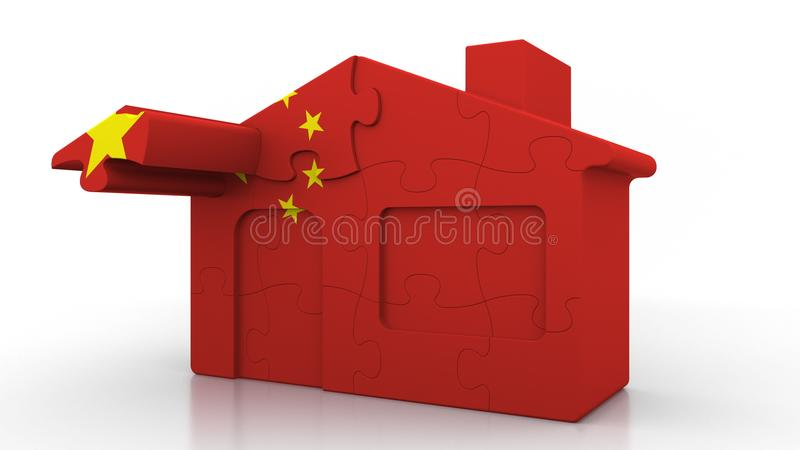 Building puzzle house featuring flag of China. Chinese emigration, construction or real estate market conceptual 3D. Building puzzle house featuring flag stock illustration