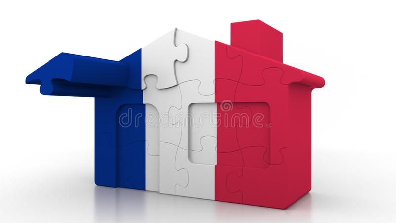 Building puzzle house featuring flag of France. French emigration, construction or real estate market conceptual 3D. Building puzzle house featuring flag vector illustration