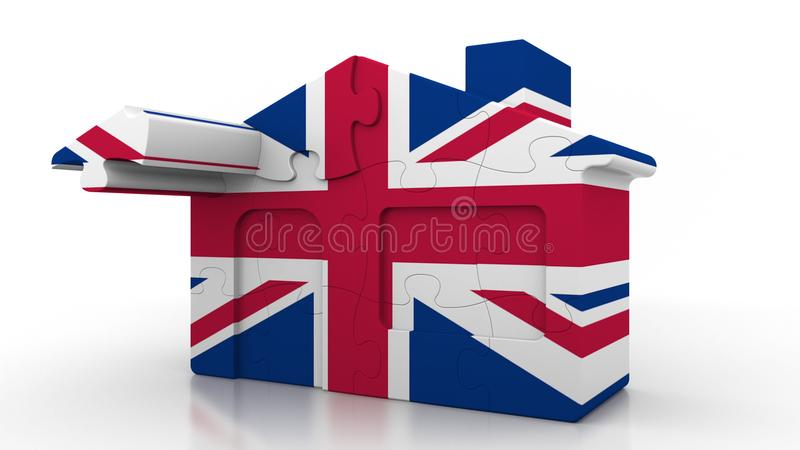 Building puzzle house featuring flag of Great Britain. British emigration, construction or real estate market conceptual. Building puzzle house featuring flag stock illustration