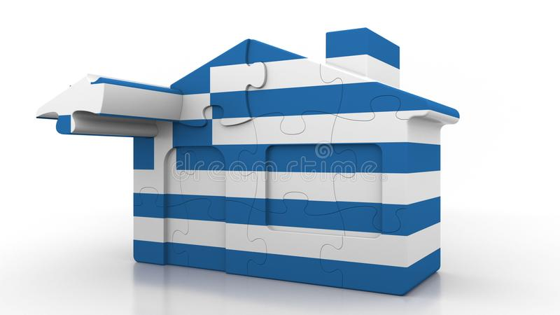 Building puzzle house featuring flag of Greece. Greek emigration, construction or real estate market conceptual 3D. Building puzzle house featuring flag royalty free illustration