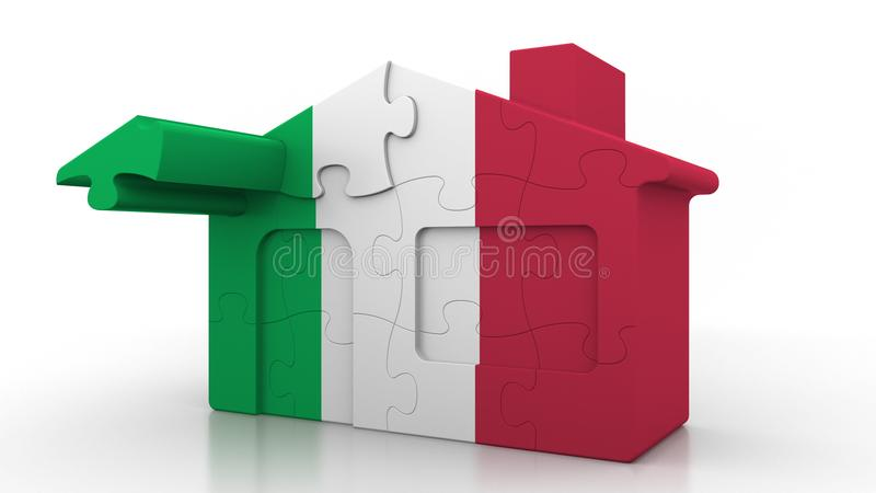 Building puzzle house featuring flag of Italy. Italian emigration, construction or real estate market conceptual 3D. Building puzzle house featuring flag vector illustration