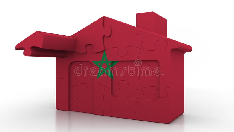 Building puzzle house featuring flag of Morocco. Moroccan emigration, construction or real estate market conceptual 3D. Building puzzle house featuring flag royalty free illustration