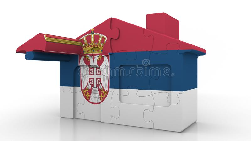 Building puzzle house featuring flag of Serbia. Serbian emigration, construction or real estate market conceptual 3D. Building puzzle house featuring flag royalty free illustration
