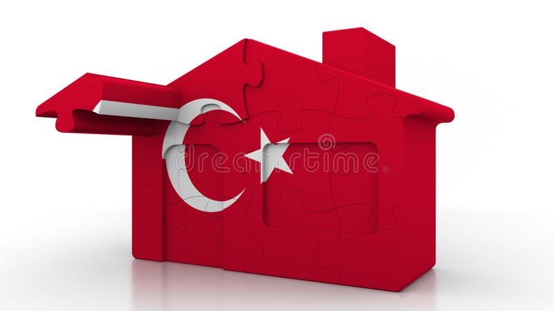Building puzzle house featuring flag of Turkey. Turkish emigration, construction or real estate market conceptual 3D. Building puzzle house featuring flag royalty free illustration