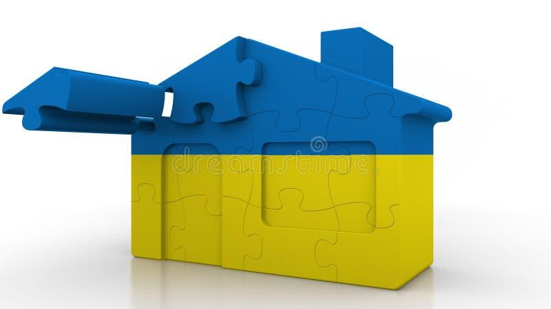 Building puzzle house featuring flag of Ukraine. Ukrainian emigration, construction or real estate market conceptual 3D. Building puzzle house featuring flag stock illustration