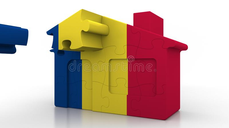 Building puzzle house featuring flag of Romania. Romanian emigration, construction or real estate market conceptual 3d. Building puzzle house featuring flag vector illustration