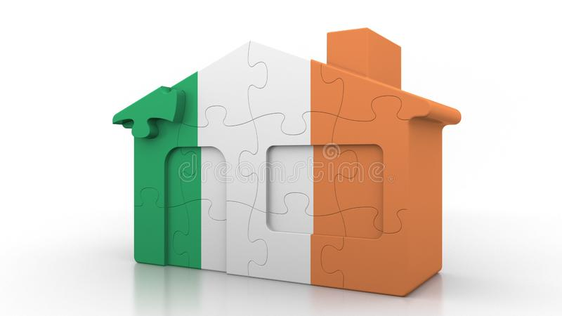 Building puzzle house featuring flag of Ireland. Irish emigration, construction or real estate market conceptual 3D. Building puzzle house featuring flag vector illustration