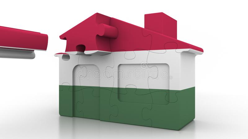 Building puzzle house featuring flag of Hungary. Hungarian emigration, construction or real estate market conceptual 3D. Building puzzle house featuring flag royalty free illustration