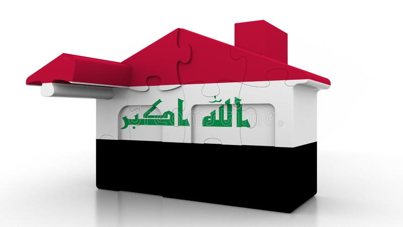 Building puzzle house featuring flag of Iraq. Iraqi emigration, construction or real estate market conceptual 3D. Building puzzle house featuring flag stock illustration
