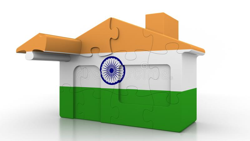 Building puzzle house featuring flag of India. Indian emigration, construction or real estate market conceptual 3D. Building puzzle house featuring flag vector illustration