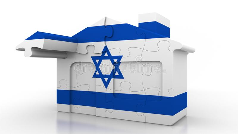 Building puzzle house featuring flag of Israel. Israeli emigration, construction or real estate market conceptual 3D. Building puzzle house featuring flag stock illustration