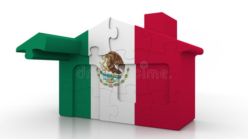 Building puzzle house featuring flag of Mexico. Mexican emigration, construction or real estate market conceptual 3D. Building puzzle house featuring flag vector illustration