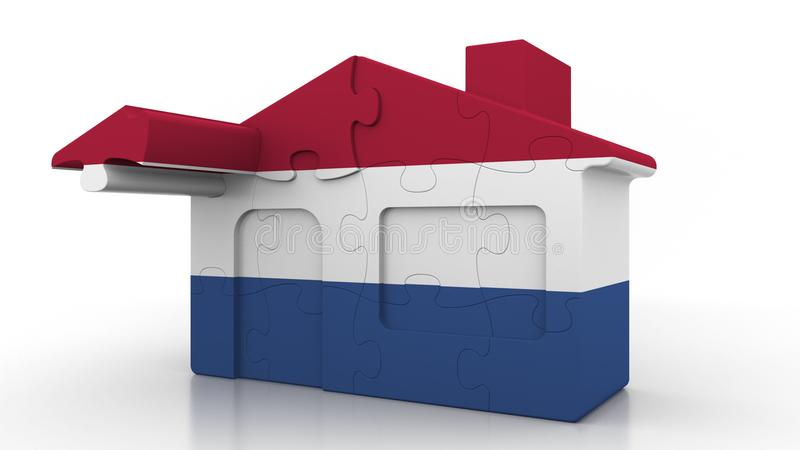 Building puzzle house featuring flag of the Netherlands. Dutch emigration, construction or real estate market conceptual. Building puzzle house featuring flag vector illustration