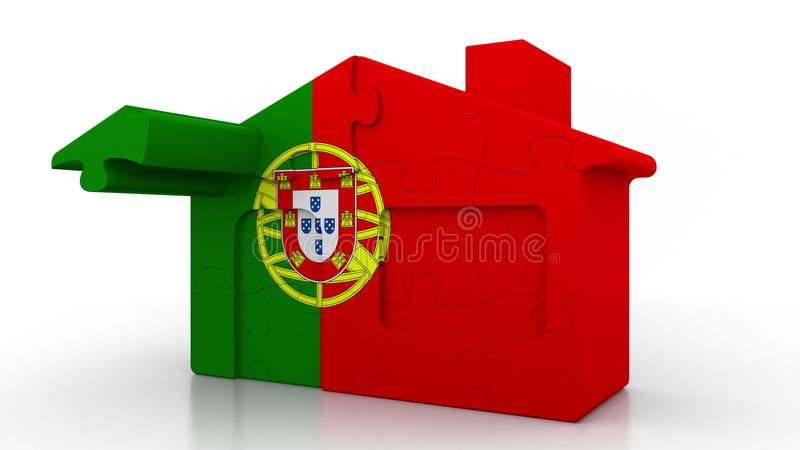 Building puzzle house featuring flag of Portugal. Portuguese emigration, construction or real estate market conceptual. Building puzzle house featuring flag stock illustration