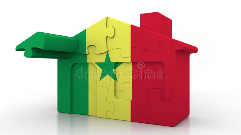 Building puzzle house featuring flag of Senegal. Senegalese emigration, construction or real estate market conceptual 3D. Building puzzle house featuring flag royalty free illustration