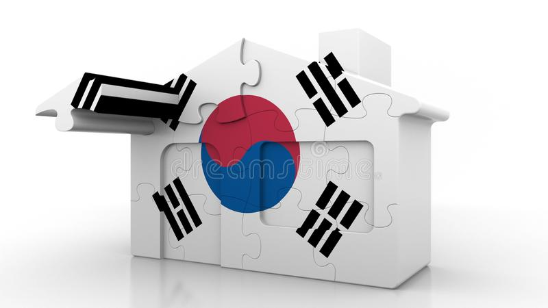 Building puzzle house featuring flag of South Korea. Korean emigration, construction or real estate market conceptual 3D. Building puzzle house featuring flag stock illustration