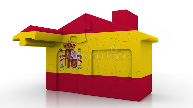 Building puzzle house featuring flag of Spain. Spanish emigration, construction or real estate market conceptual 3D. Building puzzle house featuring flag vector illustration