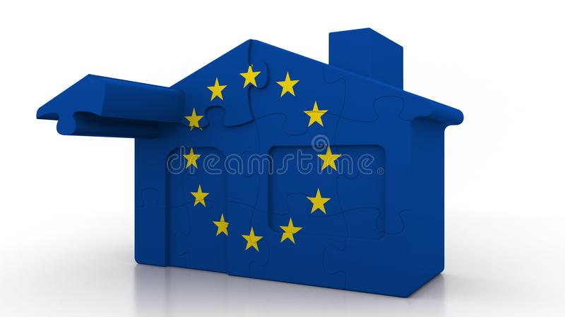 Building puzzle house featuring flag of the European Union. EU emigration or construction conceptual 3D rendering. Building puzzle house featuring flag royalty free illustration