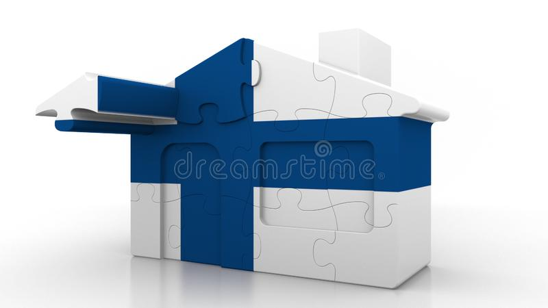 Building puzzle house featuring flag of Finland. Finnish emigration, construction or real estate market conceptual 3D. Building puzzle house featuring flag royalty free illustration