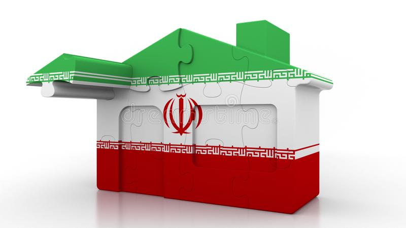 Building puzzle house featuring flag of Iran. Iranian emigration, construction or real estate market conceptual 3D. Building puzzle house featuring flag stock illustration