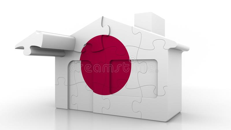 Building puzzle house featuring flag of Japan. Japanese emigration, construction or real estate market conceptual 3D. Building puzzle house featuring flag stock illustration