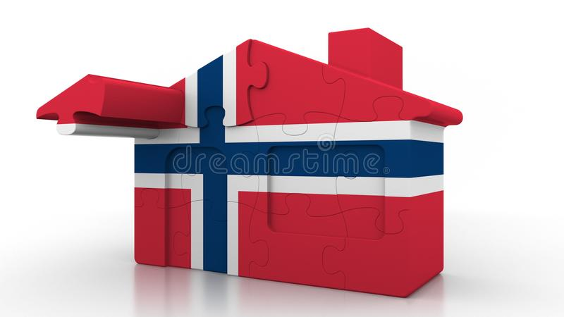 Building puzzle house featuring flag of Norway. Norwegian emigration, construction or real estate market conceptual 3D. Building puzzle house featuring flag stock illustration