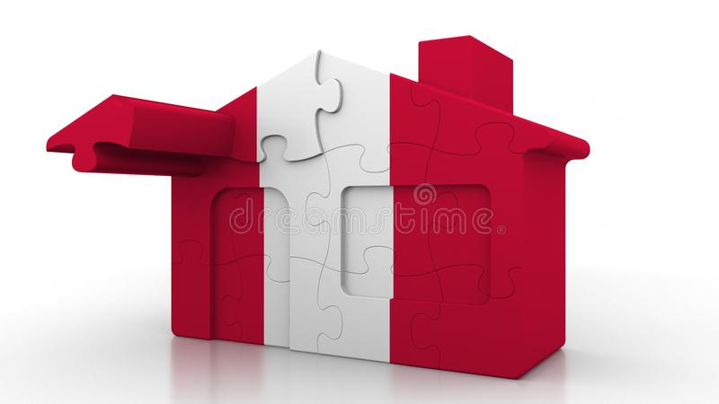 Building puzzle house featuring flag of Peru. Peruvian emigration, construction or real estate market conceptual 3D. Building puzzle house featuring flag royalty free illustration