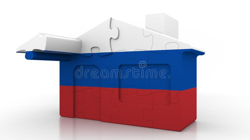 Building puzzle house featuring flag of Russia. Russian emigration, construction or real estate market conceptual 3D. Building puzzle house featuring flag vector illustration
