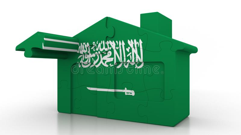 Building puzzle house featuring flag of Saudi Arabia. Arabian emigration, construction or real estate market conceptual. Building puzzle house featuring flag stock illustration