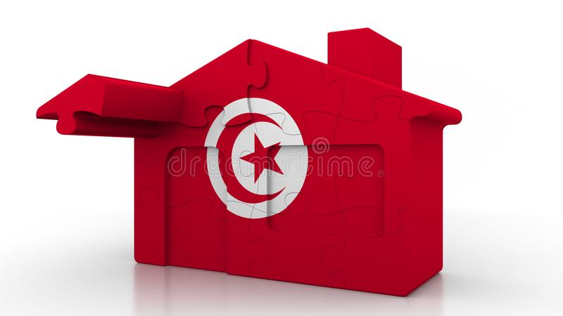 Building puzzle house featuring flag of Tunisia. Tunisian emigration, construction or real estate market conceptual 3D. Building puzzle house featuring flag vector illustration
