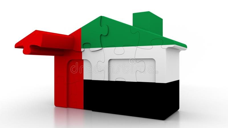 Building puzzle house featuring flag of the United Arab Emirates. UAE emigration, construction or real estate market. Building puzzle house featuring flag stock illustration