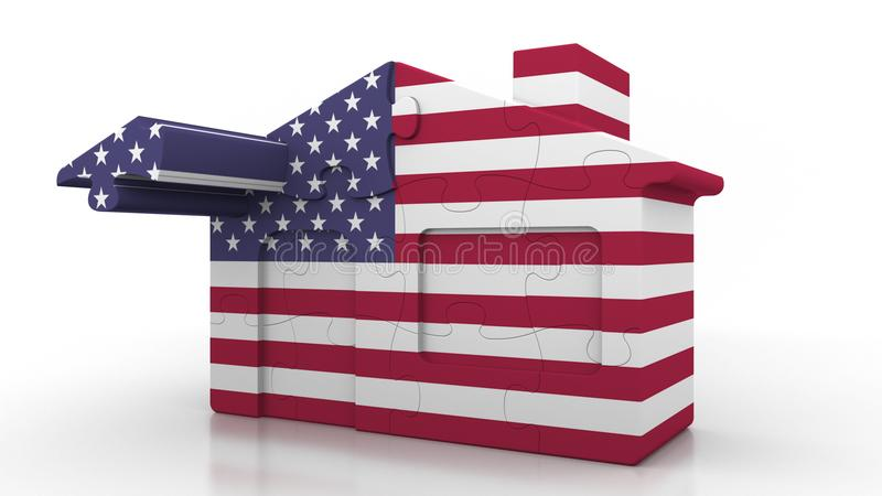 Building puzzle house featuring flag of the United States of America. American emigration, construction or real estate. Building puzzle house featuring flag vector illustration