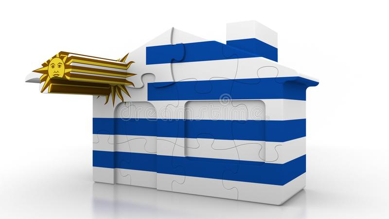Building puzzle house featuring flag of Uruguay. Uruguayan emigration, construction or real estate market conceptual 3D. Building puzzle house featuring flag vector illustration