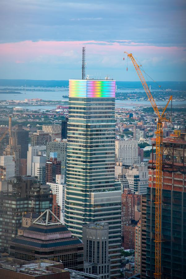 Looking North from the top of midtown Manhattan (NYC, USA. Building with rainbow colors in Manhattan during the 2019 gay pride royalty free stock images