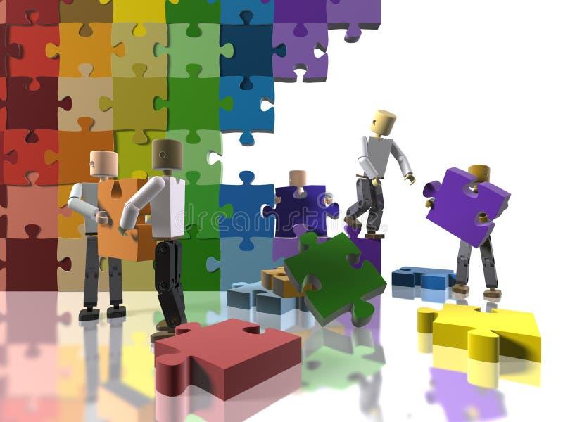 Building a rainbow flag. A team collaborating to build a rainbow flag vector illustration