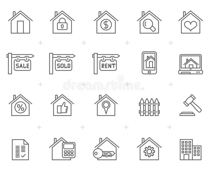 Building and Real estate icons. Icon set stock illustration