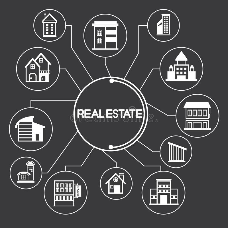 Building and real estate icons, infographic royalty free illustration