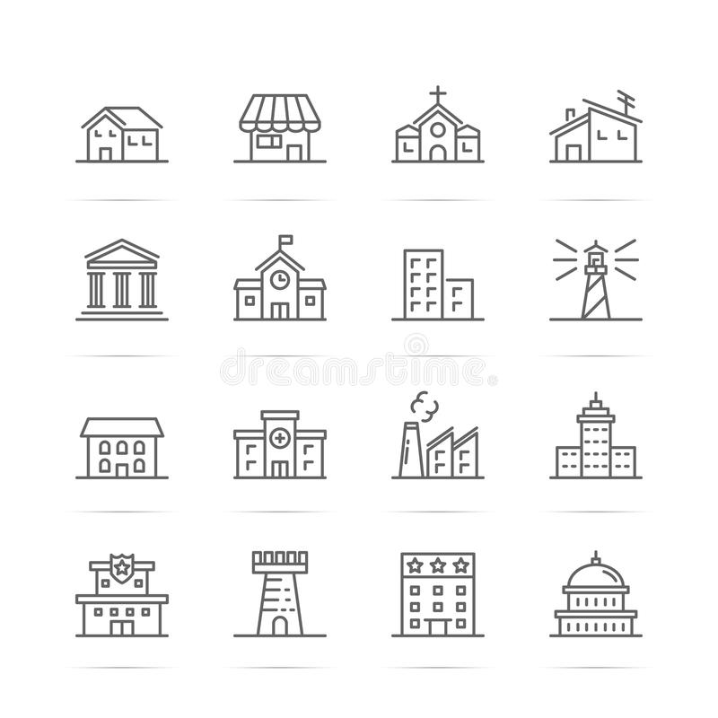 Building and real estate vector line icons royalty free illustration