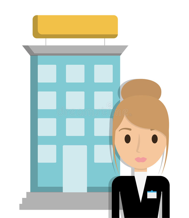 building and receptionist of hotel design stock vector rh dreamstime com hotel clipart blue hotel clip art black and white