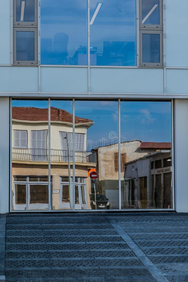 Building reflection on glass, outdoors royalty free stock photos