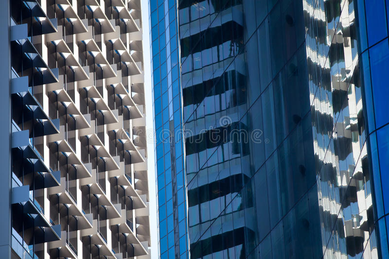 Building reflections. Between office towers stock photos