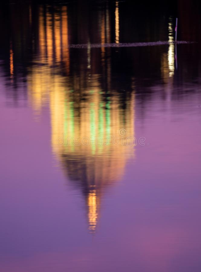 Capitol Building Reflections In Capitol Lake Olympia. Blue Hour Building Reflections In Capitol Lake, Olympia Washington, USA stock photography