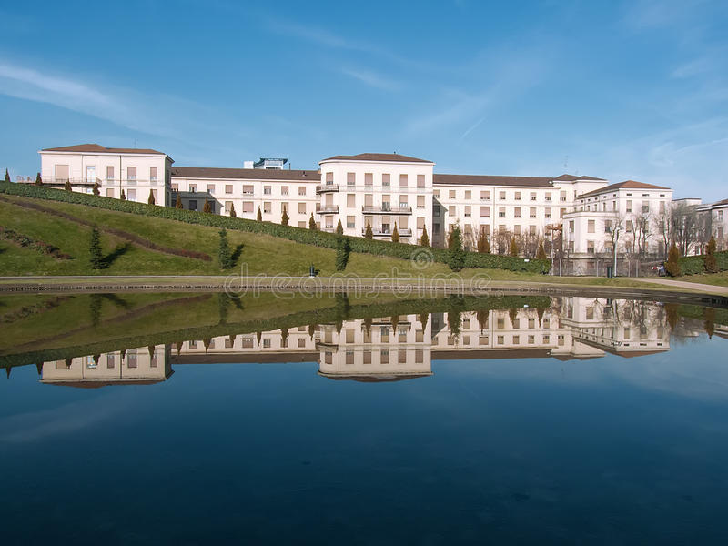 Building reflections. In a lake stock photo