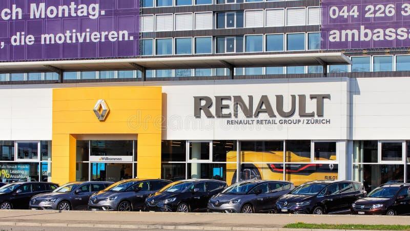 Building of the Renault Retail Group on Thurgauerstrasse street in Zurich. Zurich, Switzerland - 29 March, 2017: partial view of the building of the Renault stock photo