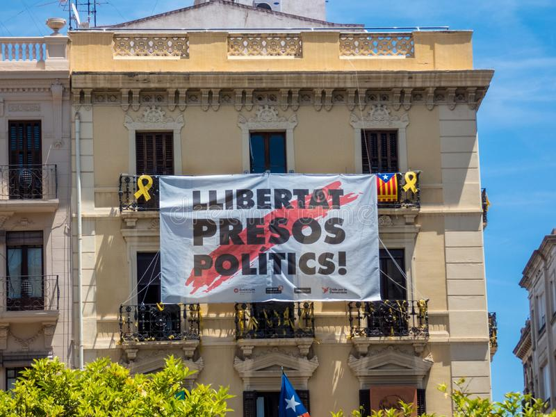 Building in Reus, Spain with political placard on the balcony.  stock photography