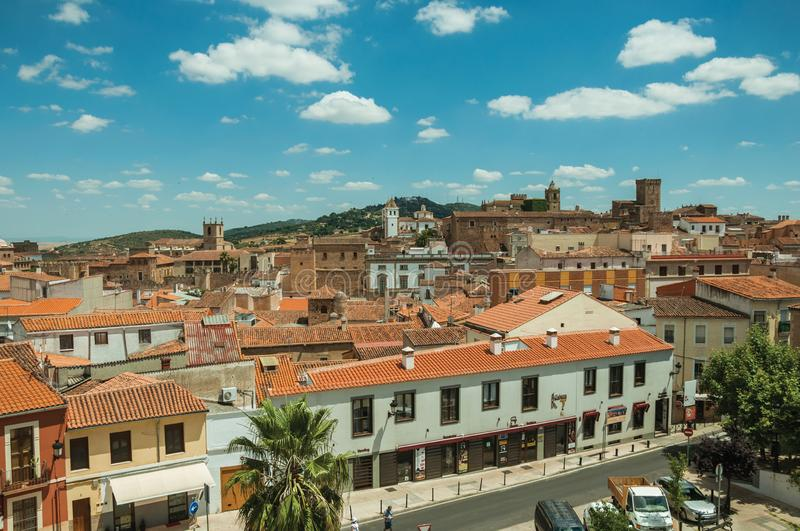 Building roofs, church bell towers and empty street at Caceres royalty free stock photos